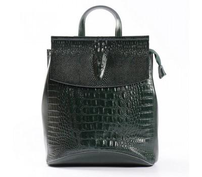 Женский кожаный рюкзак под крокодила зеленый