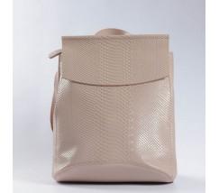 Кожаный рюкзак-сумка под змеиную кожу бежевый