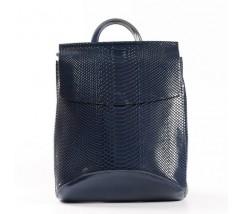 Шкіряний рюкзак-сумка під зміїну шкіру синій