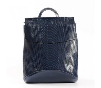 Кожаный рюкзак-сумка под змеиную кожу синий
