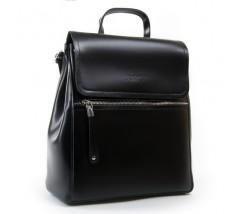 Классический кожаный рюкзак-сумка черный
