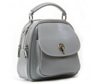 Маленькая кожаная сумка-рюкзак серая