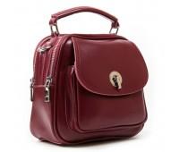 Маленькая кожаная сумка-рюкзак бордовая