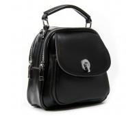 Маленькая кожаная сумка-рюкзак черная