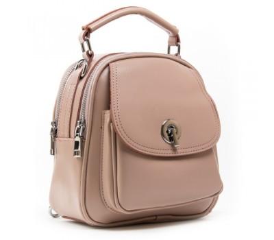 Маленькая кожаная сумка-рюкзак розовая