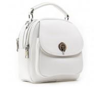 Маленькая кожаная сумка-рюкзак белая