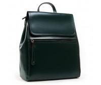 Классический кожаный рюкзак-сумка зеленый