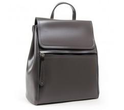 Классический кожаный рюкзак-сумка серый