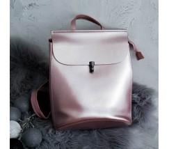 Кожаный рюкзак-сумка розовый перламутровый