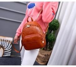Об'ємний жіночий рюкзак рудого кольору