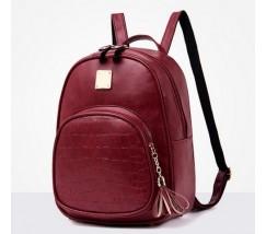 Женский качественный рюкзак из кожзама красный