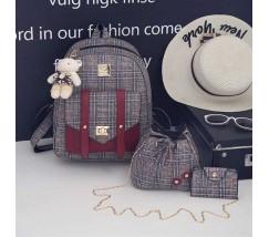 Рюкзак + сумочки набір 3в1 в клітинку з червоними вставками і брелочком