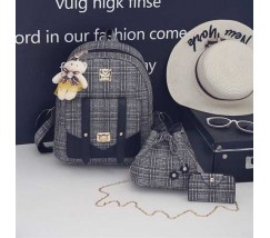 Рюкзак+сумочки набор 3в1 в клетку с черными вставками и брелочком