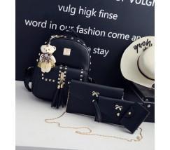 Женский рюкзак+клатч+кошелек+визитница, набор 4в1 черный