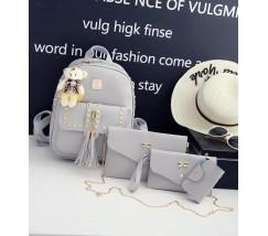 Женский рюкзак+клатч+кошелек+визитница, набор 4в1 серый