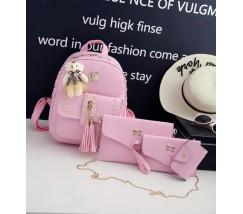Женский рюкзак+клатч+кошелек+визитница, набор 4в1 розовый