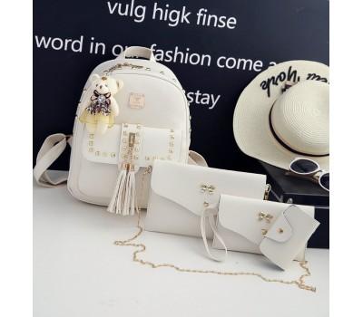 Женский рюкзак+клатч+кошелек+визитница, набор 4в1 молочный