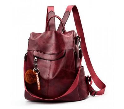 Женский рюкзак сумка с брелком бордовый
