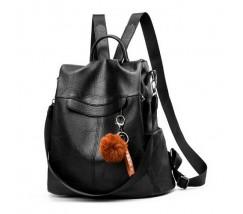 Женский рюкзак сумка с брелком черный