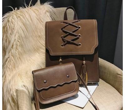 Сумка и рюкзак в наборе коричневого цвета
