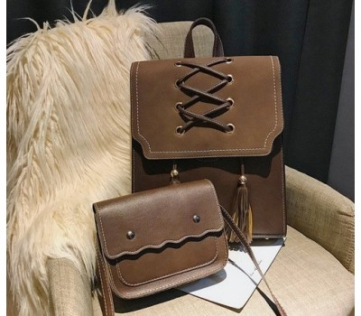 Сумка и рюкзак в наборе темно-коричневого цвета