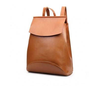 Рюкзак-сумка с качественной экокожи коричневая