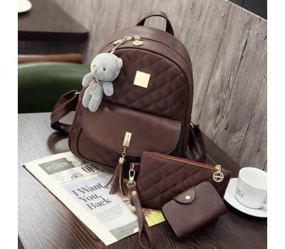 Рюкзак женский в наборе с клатчем и визитницей коричневый