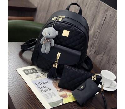 Рюкзак женский в наборе с клатчем и визитницей черный