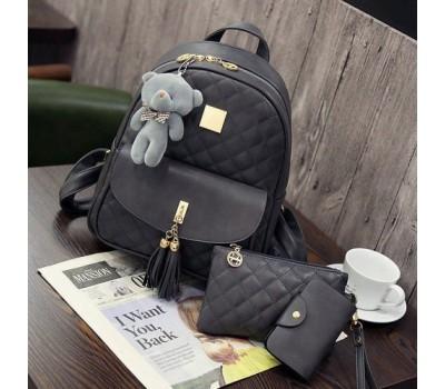 Рюкзак женский в наборе с клатчем и визитницей серый
