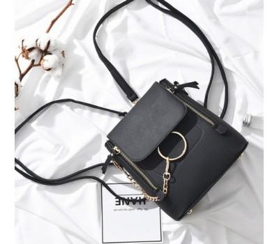 Качественный женский рюкзак-сумка черный