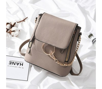 Качественный женский рюкзак-сумка бежевый