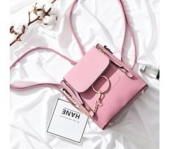 Качественный женский рюкзак-сумка розовый