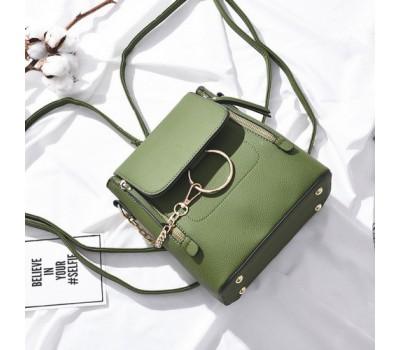 Качественный женский рюкзак-сумка зеленый
