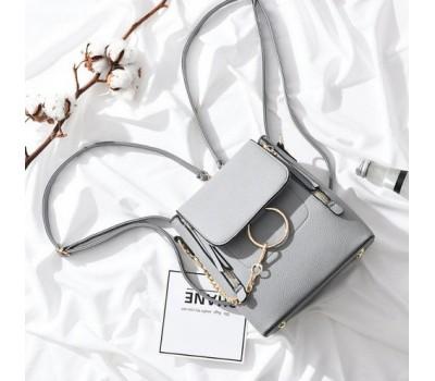 Качественный женский рюкзак-сумка серый