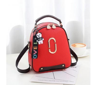 Женский мини рюкзак-сумка красный