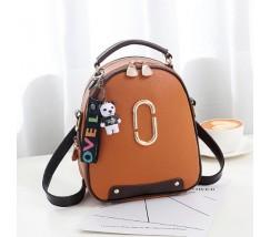 Женский мини рюкзак-сумка коричневый