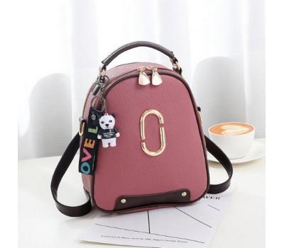 Женский мини рюкзак-сумка розовый