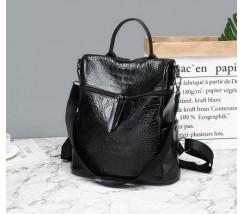 Женский рюкзак-сумка под кожу крокодила черный
