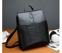 Женский рюкзак-сумка под крокодила черный