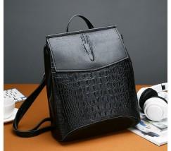 Жіночий рюкзак-сумка під крокодила чорний