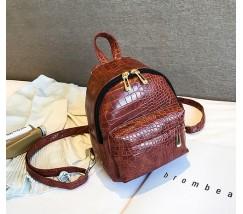 Маленький рюкзак под кожу рептилии коричневый