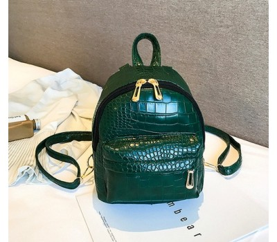 Маленький рюкзак под кожу рептилии зеленый