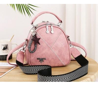 Маленькая женская сумка-рюкзак Prada розовая