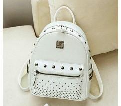 Женский белый рюкзак с заклепками