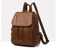 Качественный рюкзак с экокожи коричневый