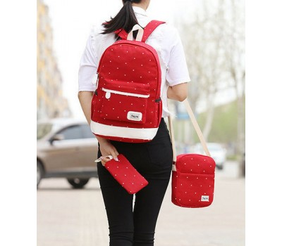 Набор рюкзак,сумка,косметичка в горошек красный