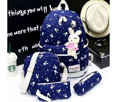 Набор рюкзак,сумка,косметичка, пенал Зайчик синий