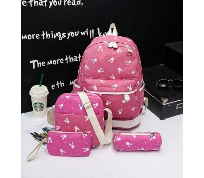 Набор рюкзак,сумка,косметичка, пенал Зайчик розовый