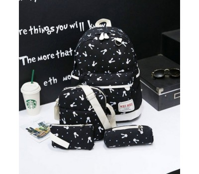 Набор рюкзак,сумка,косметичка Зайчик черный