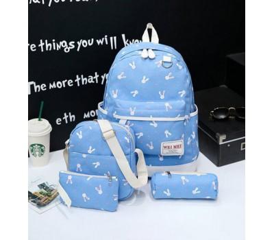 Набор рюкзак,сумка,косметичка, пенал Зайчик голубой